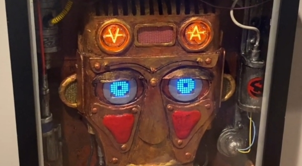 Nixie Robot Head with LED eyes and retro-futuristic design