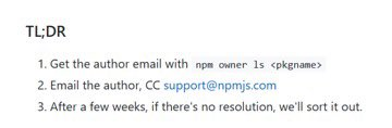 NPM procedure for obtaining ownership