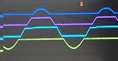 Oscilloscope photo showing the output signals from each of the quantizer's four op amps. They are positioned staggered on the screen so that you can see the original sinusoidal signal clearly.