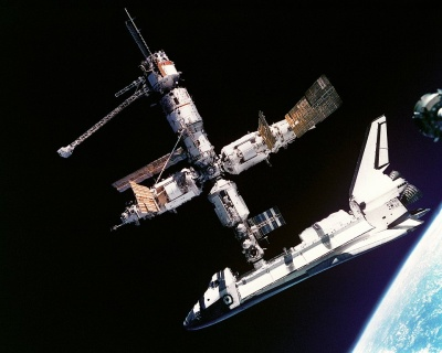Space Shuttle docked to Mir space station in 1995.