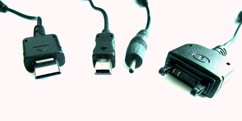 A variety of proprietary phone charger plugs