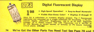 The DT-1704A VFD is straight from the 1976 Radio Shack Catalog