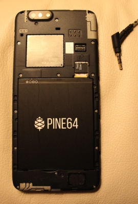 Rear of a PinePhone showing hardware