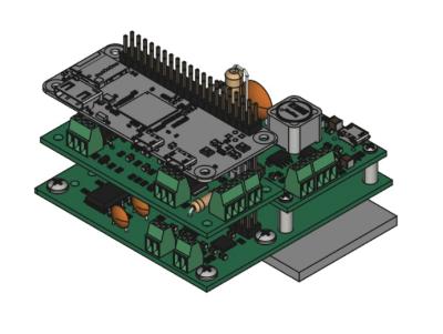 Raspberry Pi Zero sitting atop the custom nixie tube driver PCB