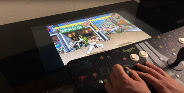 Streetfighter 2 placed on table top display with separate arcade control box