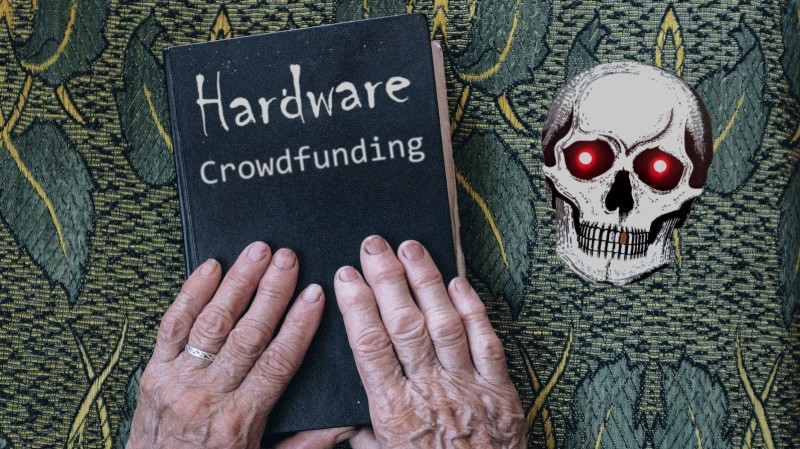 """Two hands on a book labeled """"hardware crowdfunding"""""""