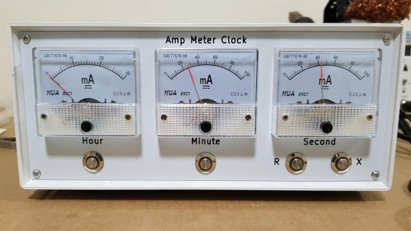 the 3 needle ammeters that make up the face of the clock