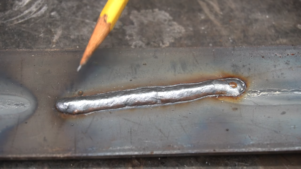 A weld bead laid down with homemade CO2