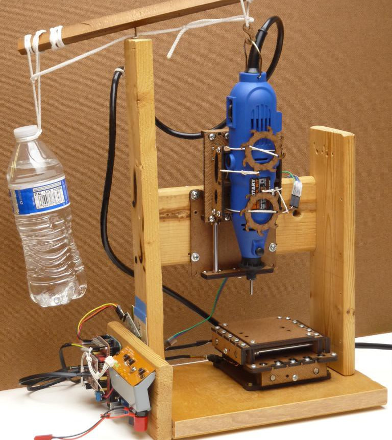 Small low-cost CNC mill with rotary tool