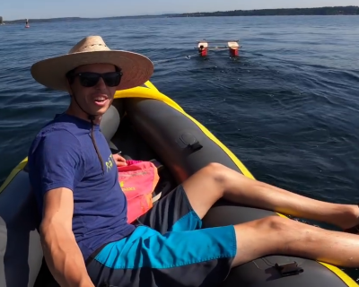 Towing test with kayak