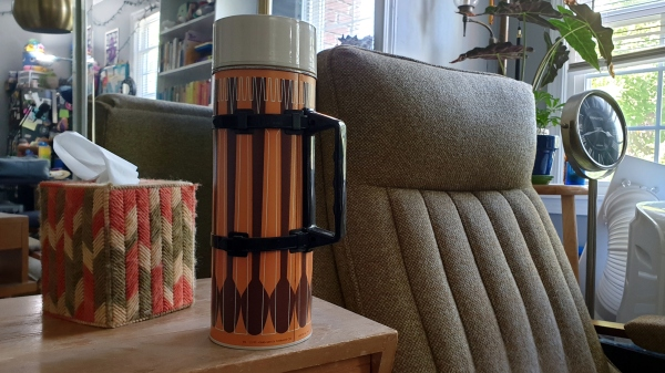 A 1971 Thermos compliments this mid-century corner of my office.