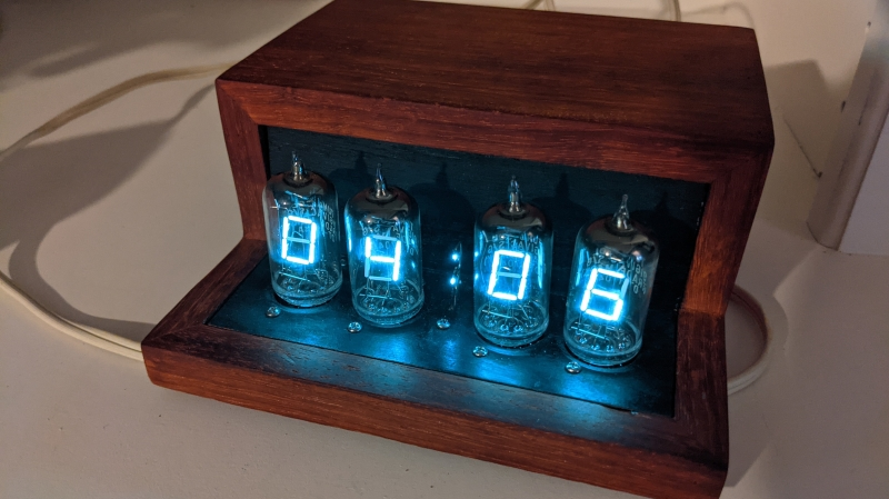 VFD clock with wood case