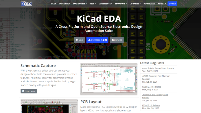 an image of kicad's homepage