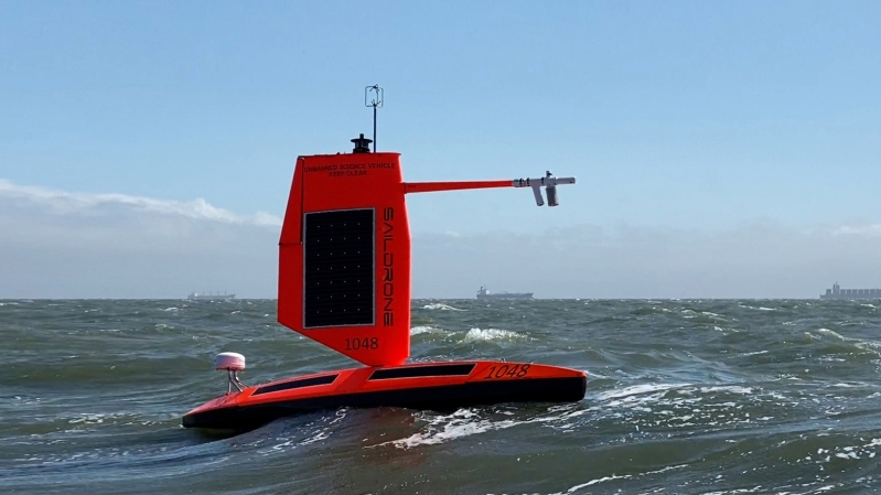 """Saildrone Explorer 1048, a sibling of Explorer 1045, each one of five vessels equipped with a """"hurricane wing"""""""