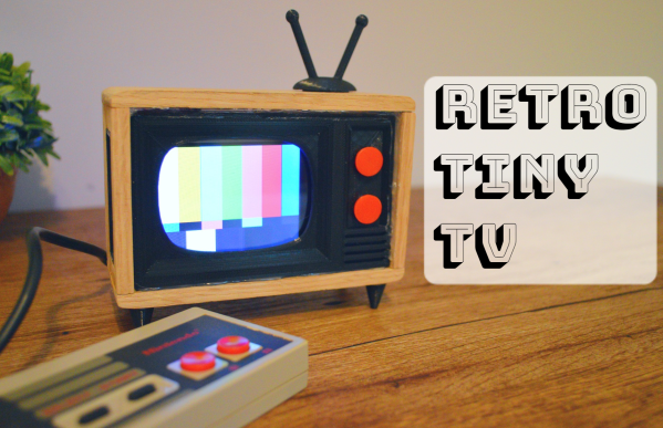 A tiny TV that shows weather, news, and the classic test pattern.