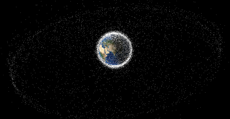 Earth seen from space, surrounded by a cloud of white dots representing orbiting satellites and debris
